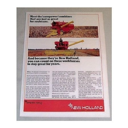1969 New Holland Combine Models 975 985 Color Print Ad