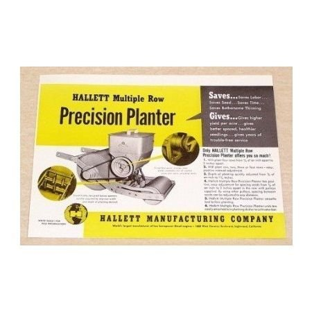 1951 Hallett Multiple Row Precision Planter Print Ad