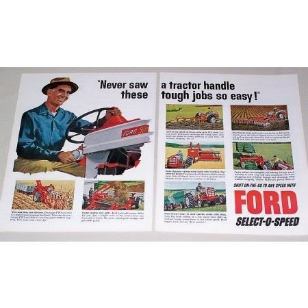 1960 Ford 901 Farm Tractor Implements 2 Page Color Print Ad