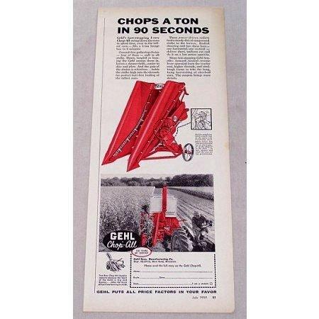 1959 Gehl 1 Row Chop-All Harvester Print Ad