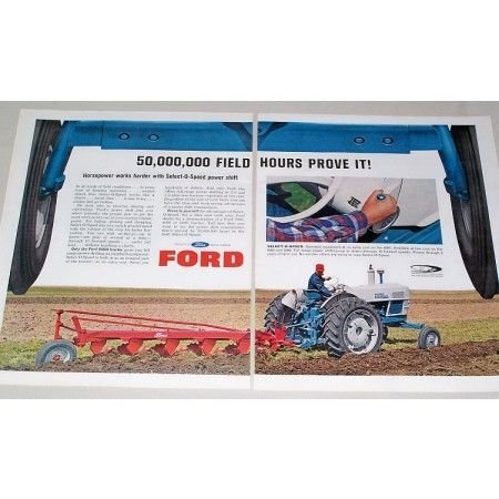 1964 Ford Diesel 6000 Tractor 5 Point Plow 2 Page Color Print Ad