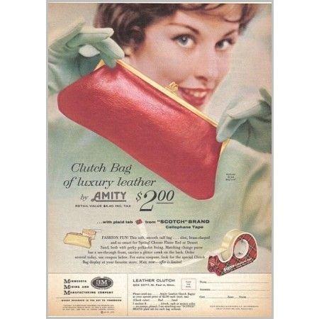 1959 Scotch Tape Amity Clutch Bag Offer Color Print Ad