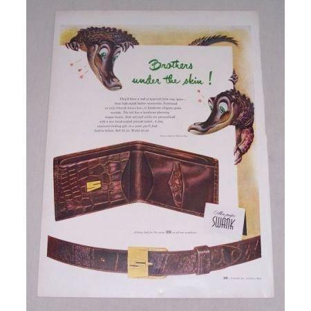 1949 Swank Belt and Wallet Alligator Animal Art Color Print Ad