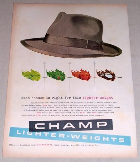 1953 Champ Dash Lighter-Weights Men's Hat Color Print Ad