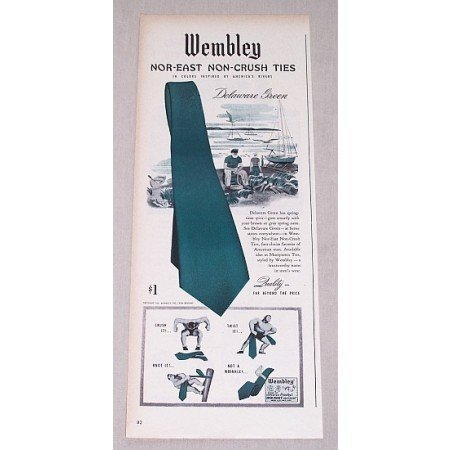 1946 Wembley Nor-East Delaware Green Ties Color Print Ad