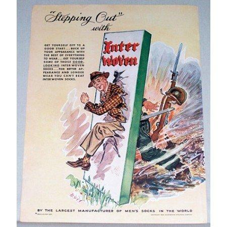 1945 Interwoven Men's Socks Wartime Art Color Print Ad