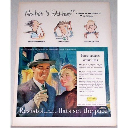 1948 Resistol Self-Forming Hats Color Art Print Ad
