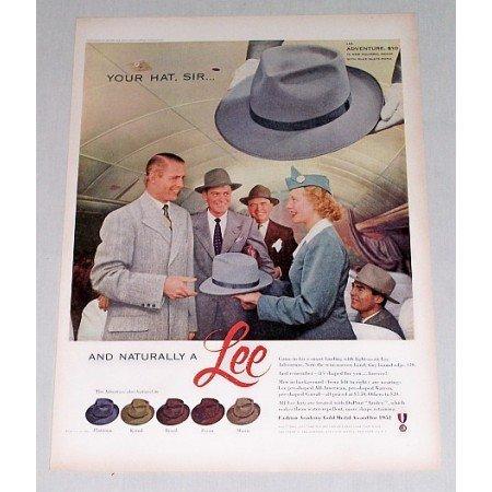 1952 Lee Adventure Men's Hat Color Print Ad