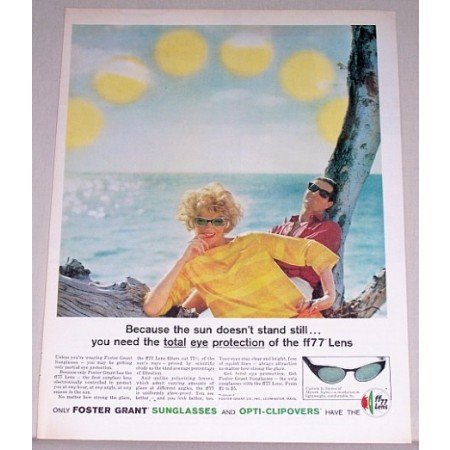 1961 Foster Grant Sunglasses Color Print Ad