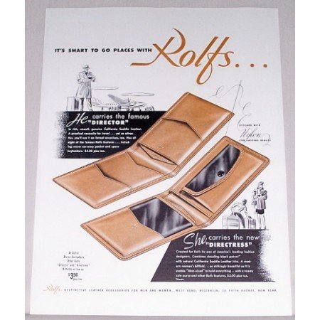 1946 Rolfs Director Billfold Color Print Ad