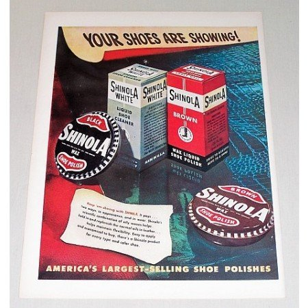 1948 Shinola Wax Shoe Polish Color Art Print Ad