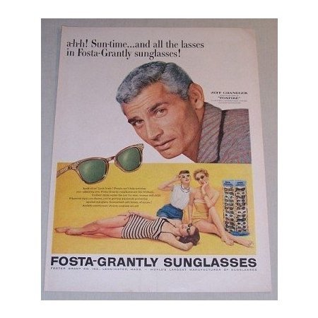 1955 Fosta Grantly Sunglasses Color Print Ad Celebrity Jeff Chandler