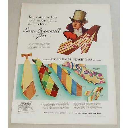 1948 Beau Brummell 4 Fold Palm Beach Ties Color Print Ad