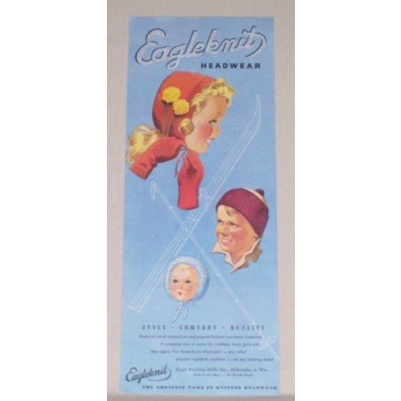 1945 Eagleknit Headwear Childrens Headwear Art Color Print Ad
