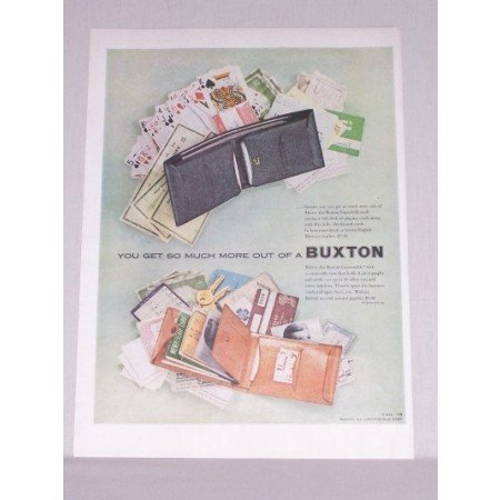1953 Buxton Convertible Wallet Billfold Color Print Ad