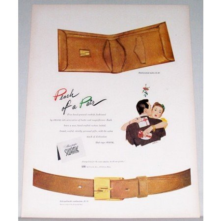 1948 Swank Wallet & Belt Color Print Ad - Peach Of A Pair