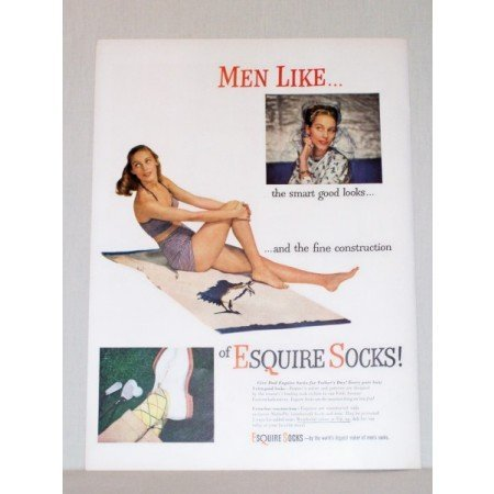 1948 Esquire Socks Color Print Ad - Woman Posing In Bikini