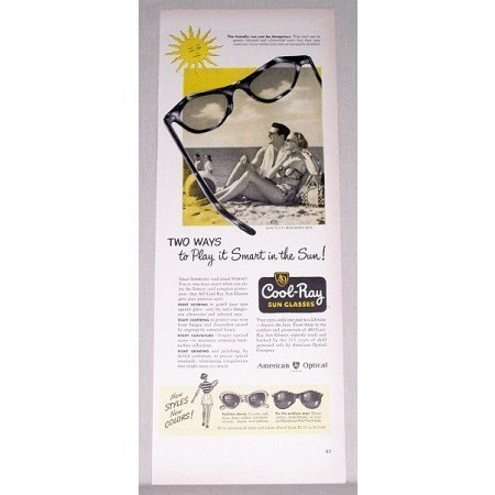 1947 American Optical Cool Ray Sun Glasses Color Ad