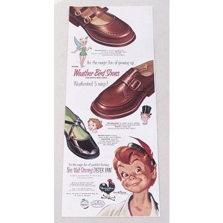 1953 Peters Weather Bird Shoes Disney's Peter Pan Color Print Ad