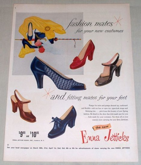 1954 Enna Jetticks Pumps Fashion Womens Shoes Color Print Ad