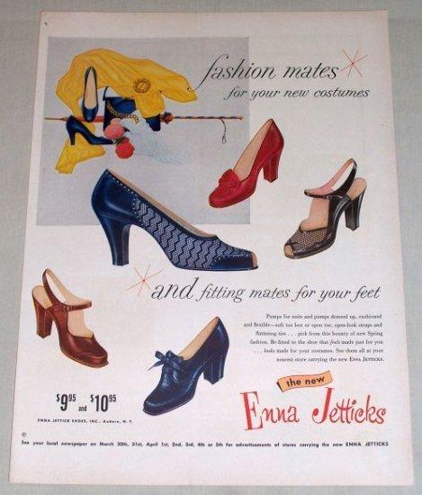 1954 Enna Jetticks Pumps Fashion Womens Shoes Color Print Ad