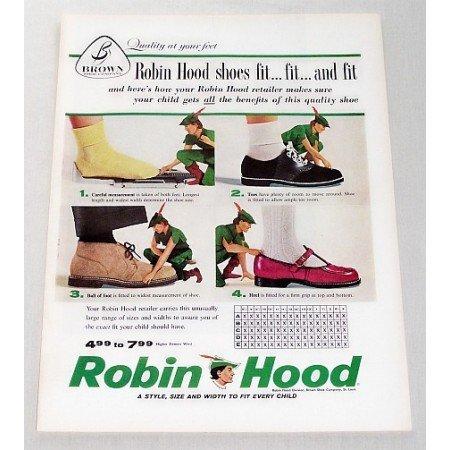 1957 Brown Shoe Co. Robin Hood Shoes Color Print Ad