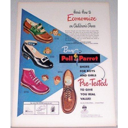 1948 Poll Parrot Children's Shoes Color Print Ad
