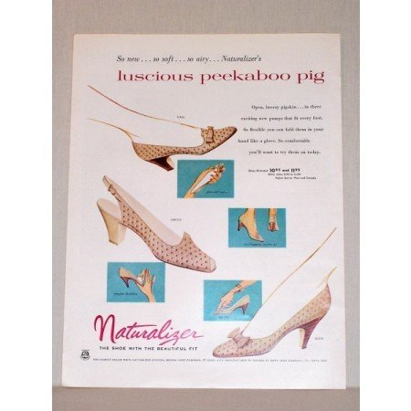1957 Naturalizer Pumps Shoes Color Print Ad
