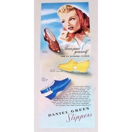1942 Daniel Green Slippers Color Art Print Ad - Three Pair Yourself
