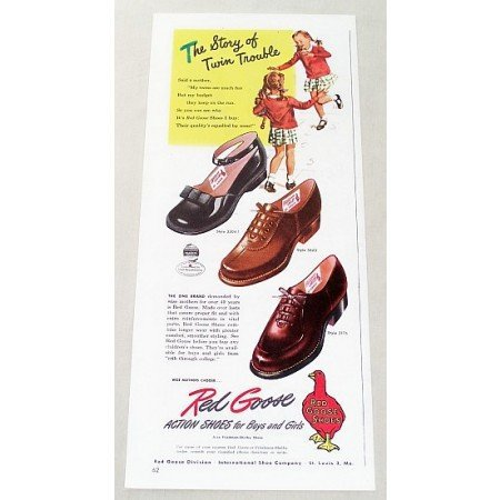 1947 Red Goose Action Shoes Color Print Ad - Twin Trouble