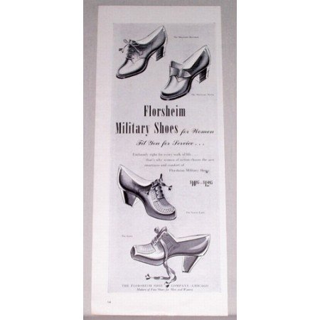 1944 Florsheim Women Military Shoes Print Ad - Fit For Service