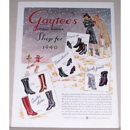 1940 Gaytees Stormy Weather Shoes Boots Winter Art Color Print Ad