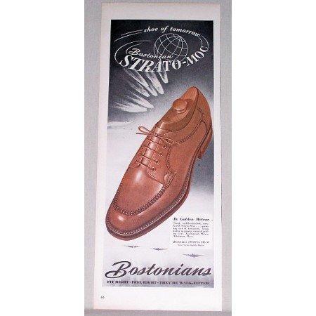 1947 Bostonians Strato-Moc Men's Shoes Color Print Ad