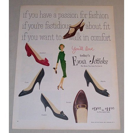 1958 Enna Jetticks Shoes Color Print Ad