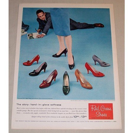 1958 Red Cross Shoes Classic and Aristocrat Color Print Ad