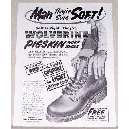 1954 Wolverine Pigskin Work Shoes Art Print Ad