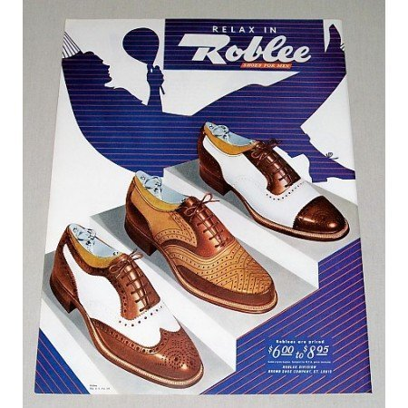 1946 Roblees Shoes For Men Color Art Print Ad - Relax With Roblee