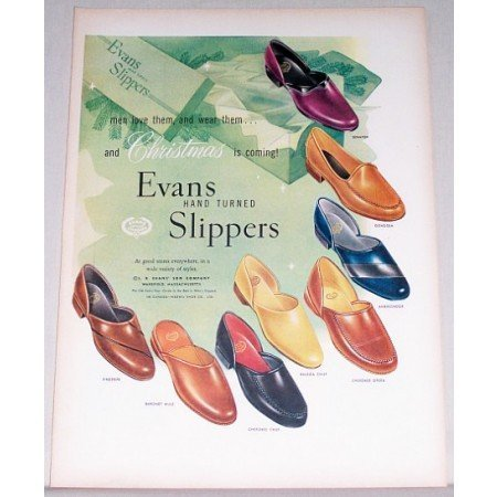 1955 Evans Hand Turned Slippers Color Art Print Ad