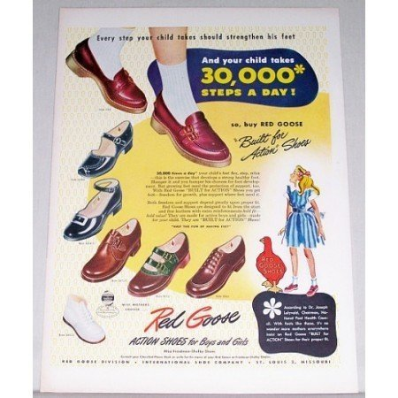 1948 Red Goose Action Shoes Color Art Print Ad