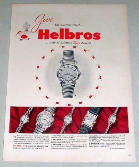 1953 Helbros 17 Lifetime Ruby Jewels Watch Color Print Ad