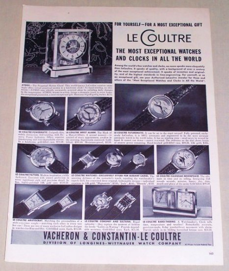1953 Longines Wittnauer Le Coultre Watch Clock Print Ad