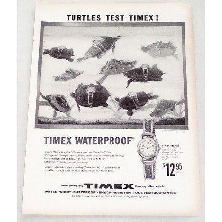 1956 Timex Marlin Waterproof Wristwatch Turtles Print Ad