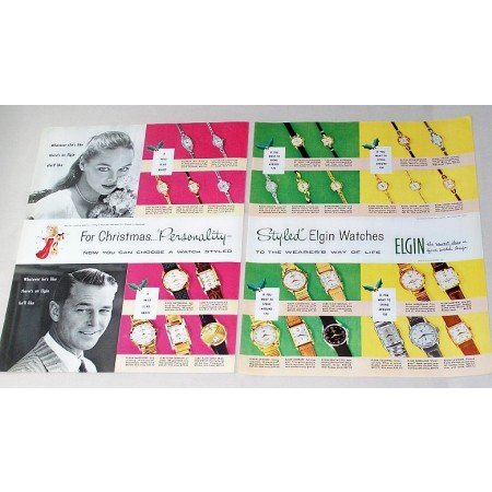 1956 Personally Styled Elgin Watches 2 Page Color Print Ad