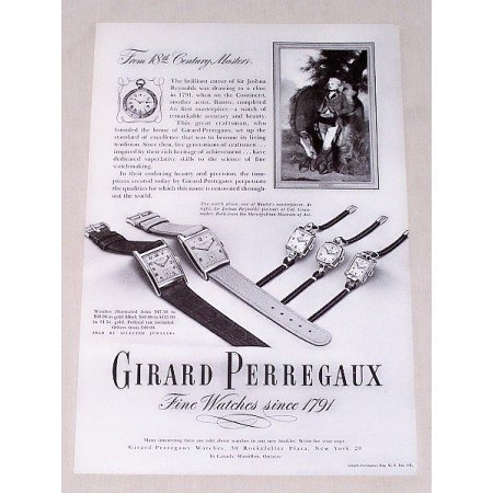 1947 Girard Perregaux Watches Print Ad Sir Joshua Reynolds