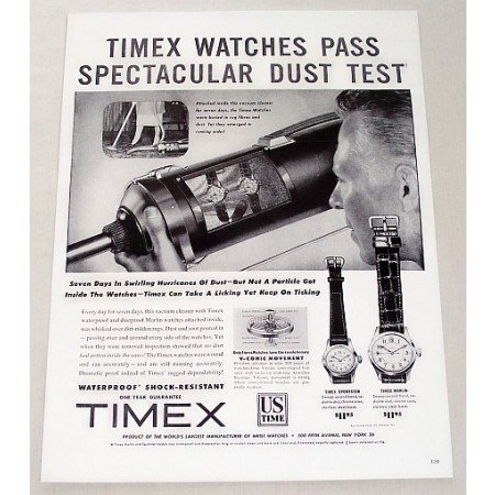 1956 Timex Watches Print Ad - Past Dust Test