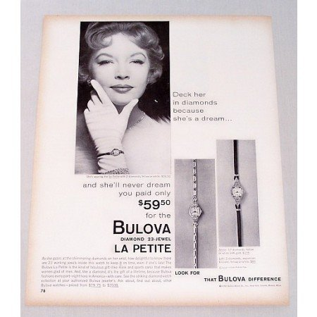 1958 Bulova Diamond 23 Jewel La Petite Ladies Watch Print Ad