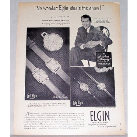 1949 Lord Lady Elgin Watch Print Ad Celebrity James Stewart