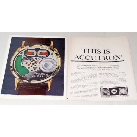 1960 Bulova Accutron Watch 2 Page Color Print Ad