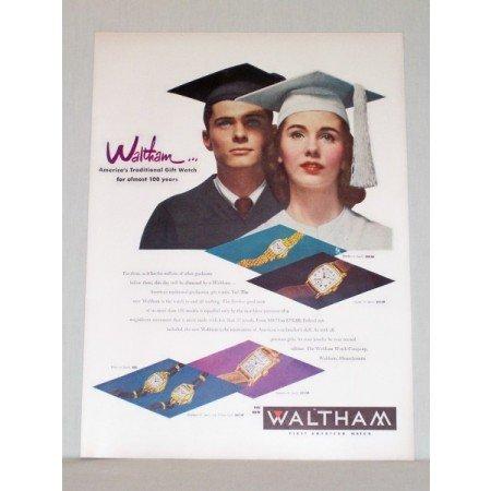 1948 Waltham Watch Company Graduation Color Print Ad