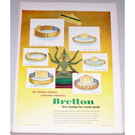 1948 Bretton Watch Bands Color Print Ad